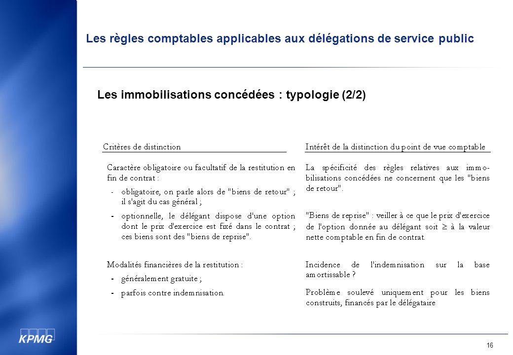 Les règles comptables applicables aux délégations de service public 16 Les immobilisations concédées : typologie (2/2)