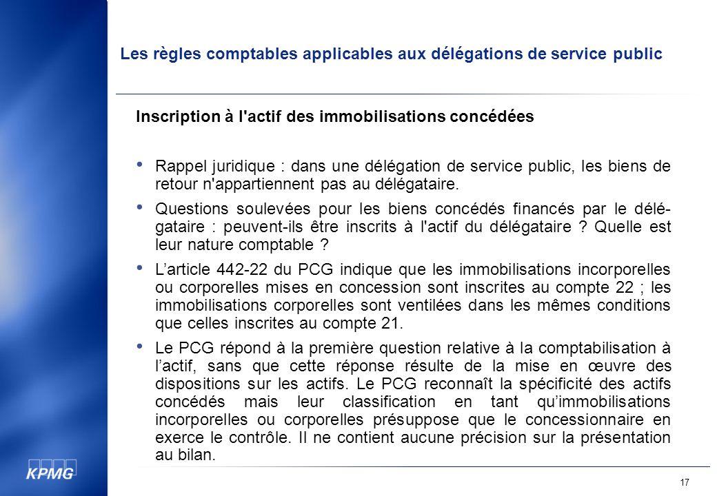 Les règles comptables applicables aux délégations de service public 17 Inscription à l actif des immobilisations concédées Rappel juridique : dans une délégation de service public, les biens de retour n appartiennent pas au délégataire.