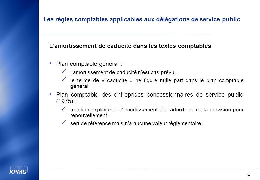Les règles comptables applicables aux délégations de service public 24 Lamortissement de caducité dans les textes comptables Plan comptable général : lamortissement de caducité nest pas prévu.
