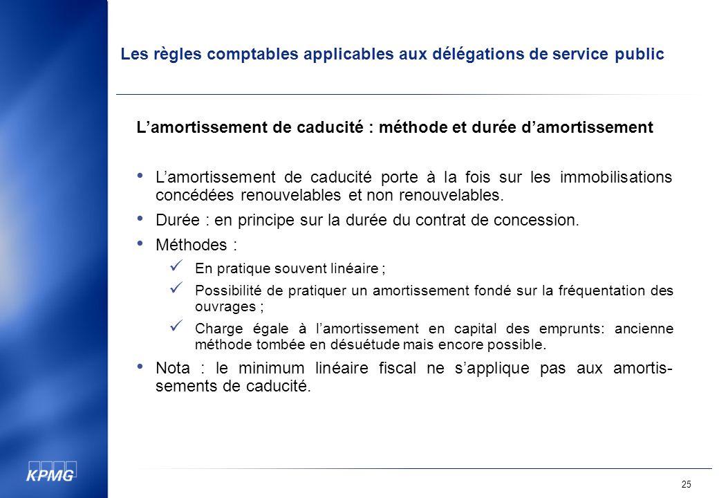 Les règles comptables applicables aux délégations de service public 25 Lamortissement de caducité : méthode et durée damortissement Lamortissement de caducité porte à la fois sur les immobilisations concédées renouvelables et non renouvelables.