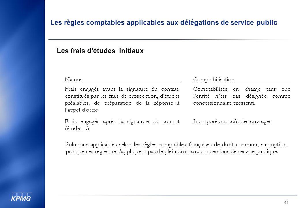 Les règles comptables applicables aux délégations de service public 41 Les frais d études initiaux