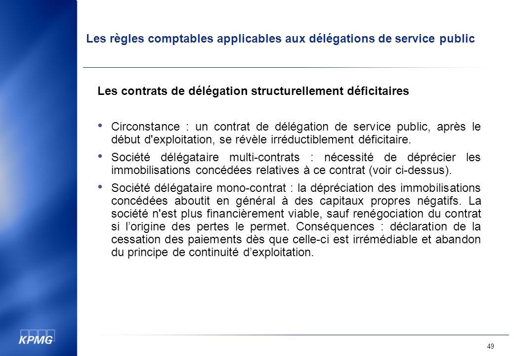 Les règles comptables applicables aux délégations de service public 49 Les contrats de délégation structurellement déficitaires Circonstance : un contrat de délégation de service public, après le début d exploitation, se révèle irréductiblement déficitaire.