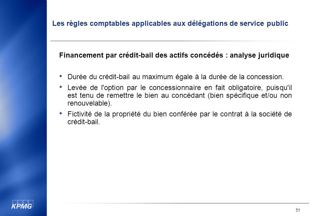 Les règles comptables applicables aux délégations de service public 51 Financement par crédit-bail des actifs concédés : analyse juridique Durée du crédit-bail au maximum égale à la durée de la concession.