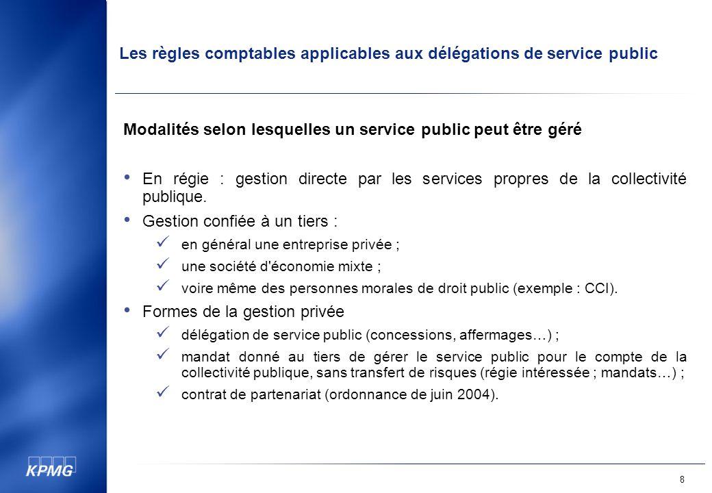 Les règles comptables applicables aux délégations de service public 8 Modalités selon lesquelles un service public peut être géré En régie : gestion directe par les services propres de la collectivité publique.