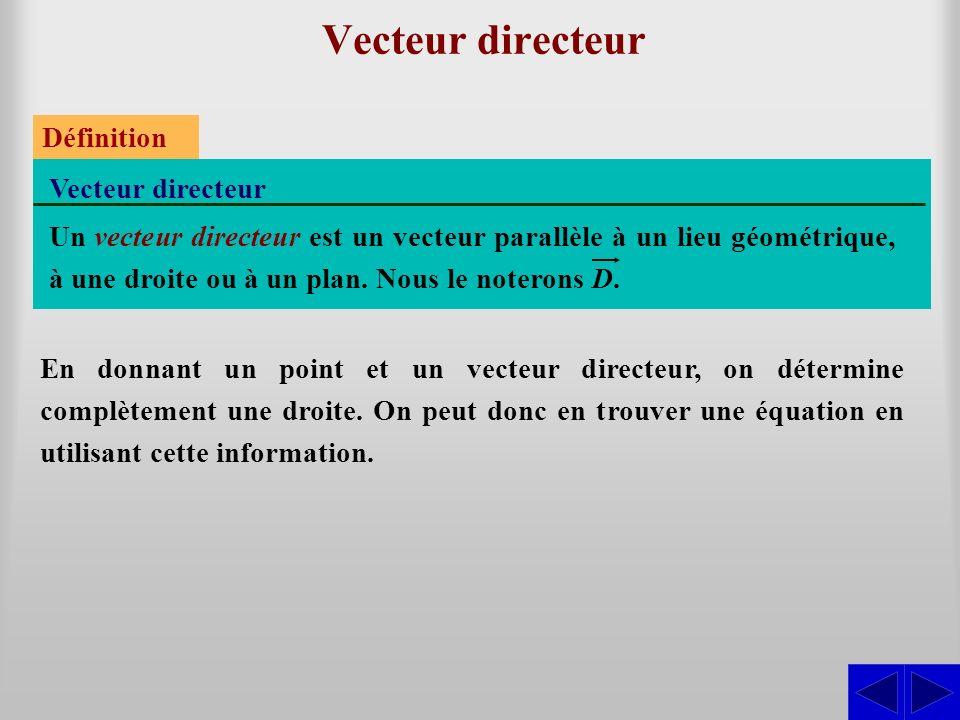 Vecteur directeur Vecteur directeur Définition Un vecteur directeur est un vecteur parallèle à un lieu géométrique, à une droite ou à un plan. Nous le