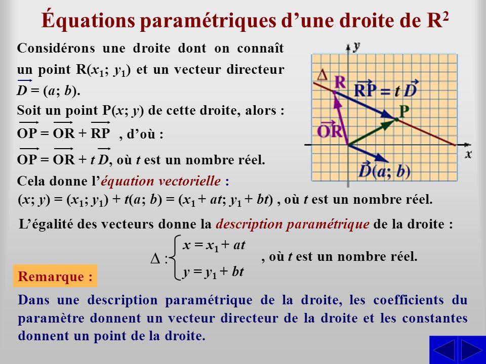 Équations paramétriques dune droite de R 2 Considérons une droite dont on connaît un point R(x 1 ; y 1 ) et un vecteur directeur D = (a; b). Soit un p