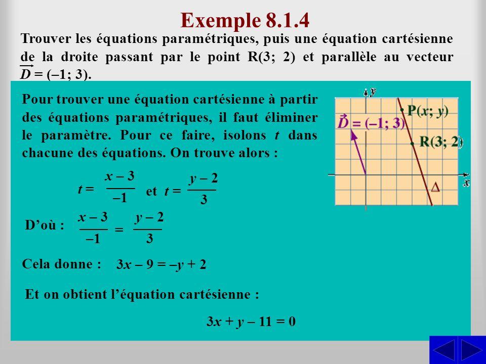 Exemple 8.1.4 En considérant les vecteurs algébriques dans la base usuelle, on a : Trouver les équations paramétriques, puis une équation cartésienne