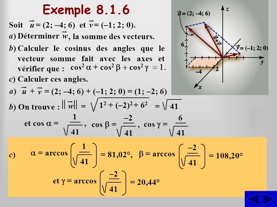 1 Cela donne : =41 b) On trouve : et cos = S a)Déterminer = Soit u= (2; –4; 6) etv = (–1; 2; 0). b)Calculer le cosinus des angles que le vecteur somme