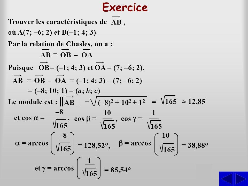 Trouver les caractéristiques de (–8) 2 + 10 2 + 1212 = Puisque 165 12,85 Le module est : S où A(7; –6; 2) et B(–1; 4; 3). AB, Par la relation de Chasl