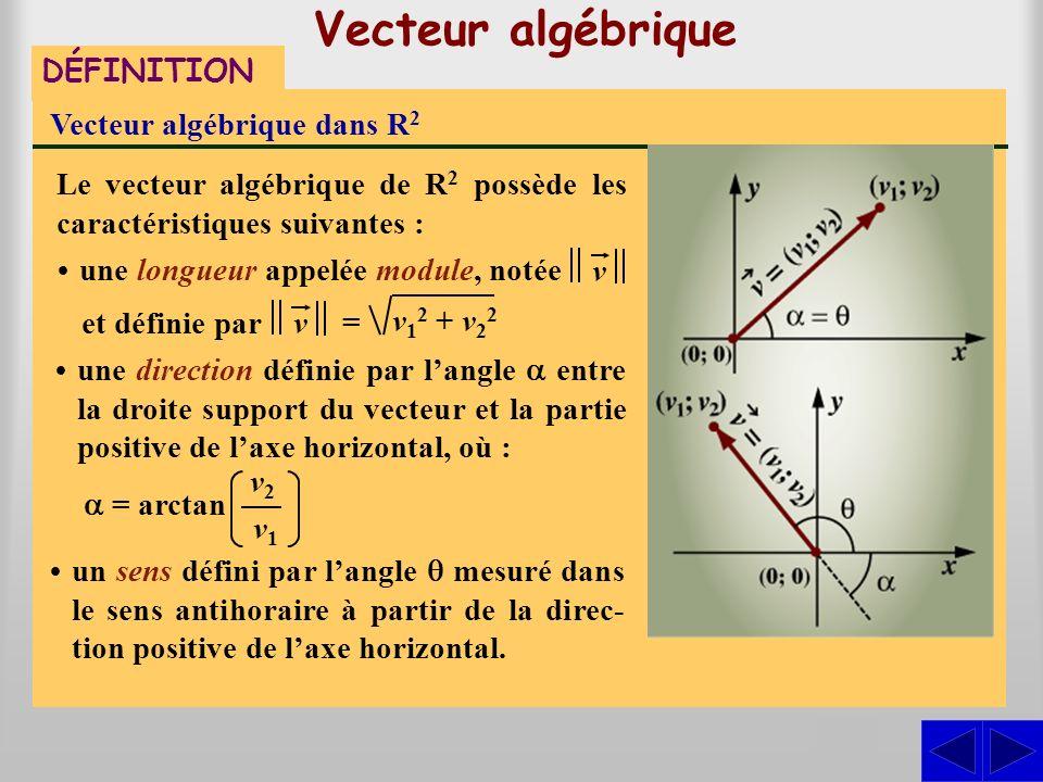 Vecteur algébrique DÉFINITION Vecteur algébrique dans R 2 Un vecteur algébrique de R 2 est un couple (v 1 ; v 2 ). Il est représenté dans le plan cart