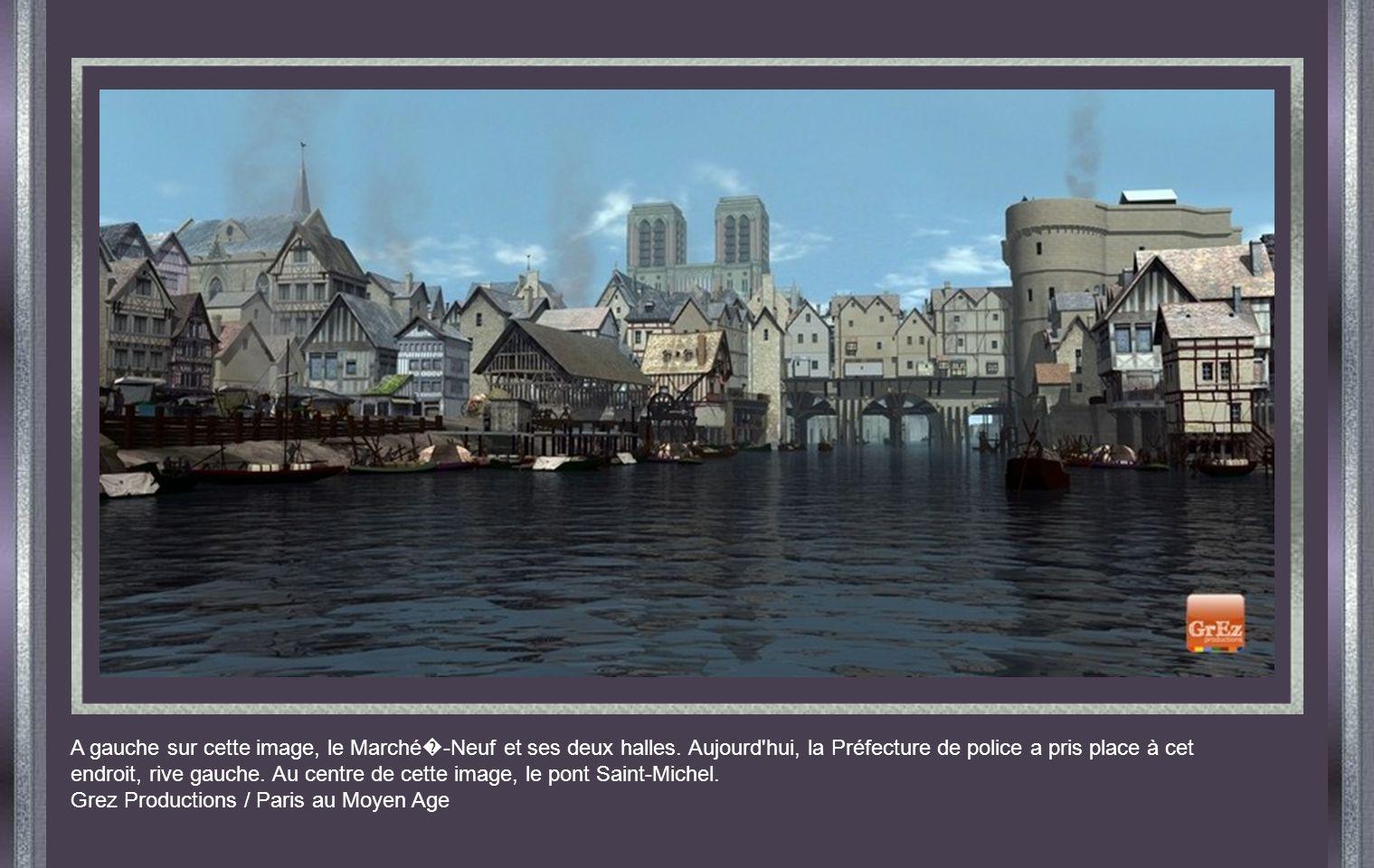 A gauche sur cette image, le Marché -Neuf et ses deux halles.