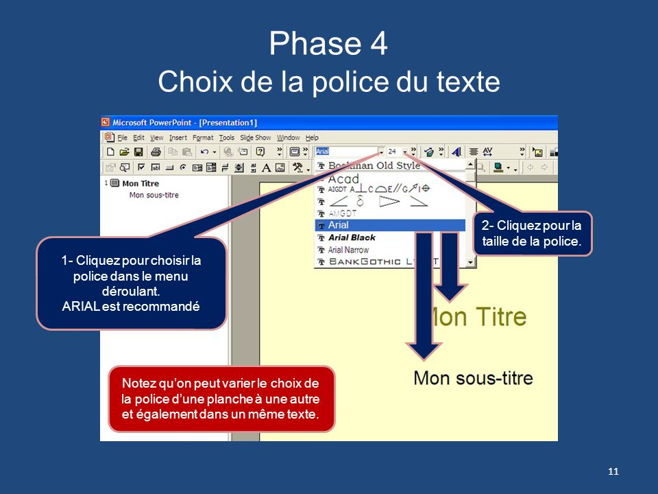 Phase 3 Choix de fond de page 1- Plusieurs choix soffriront à vous : La couleur de fond et un arrangement de couleurs prédéterminées pour le texte, et