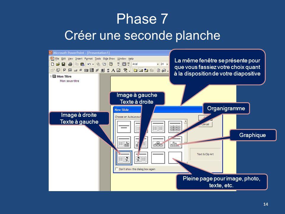Phase 6 Créer une seconde planche 2- Cliquez sur Nouvelle diapositive ou Ctrl + M 1- Cliquez sur longlet Insertion 13