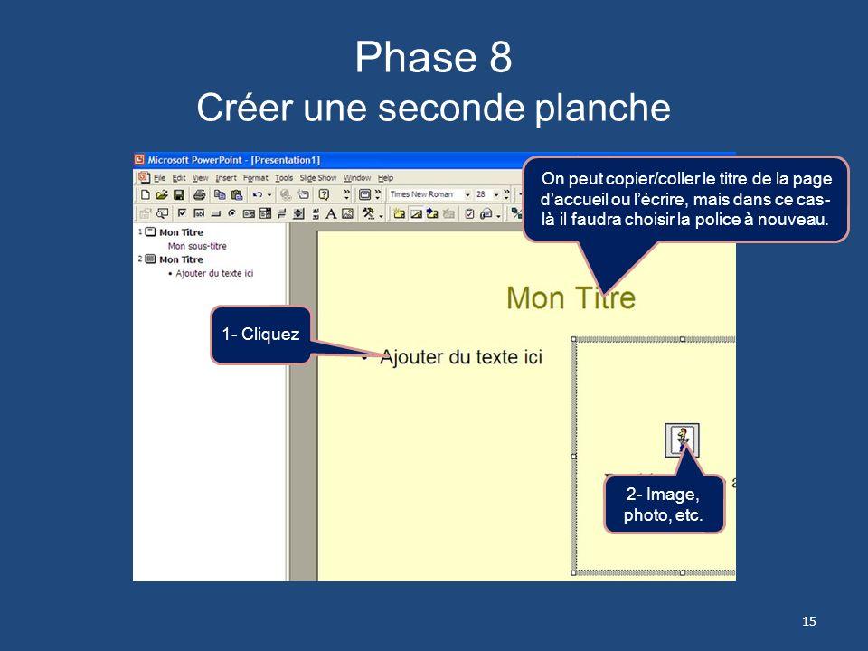 Phase 7 Créer une seconde planche La même fenêtre se présente pour que vous fassiez votre choix quant à la disposition de votre diapositive Organigram