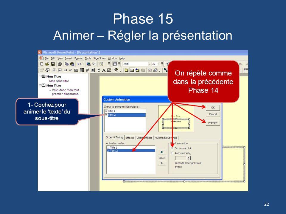 Phase 14 Animer – Régler la présentation 1- Cochez titre 2- Cochez clic de la souri pour rendre votre présentation manuelle 3- Nutilisez pas lautomati