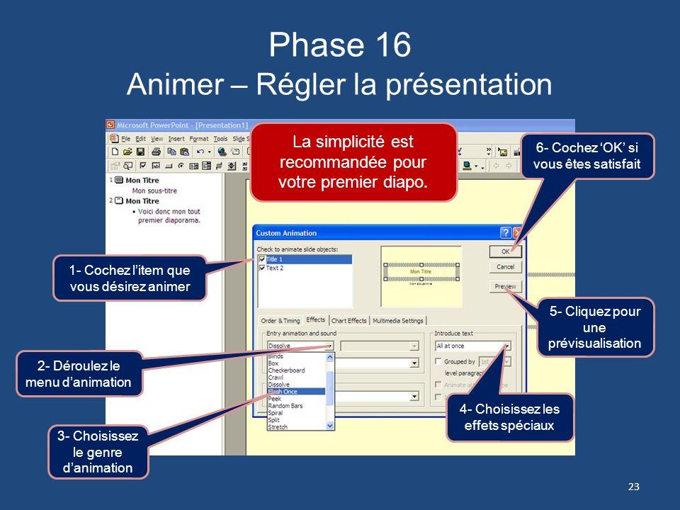 Phase 15 Animer – Régler la présentation 1- Cochez pour animer le texte du sous-titre On répète comme dans la précédente Phase 14 22