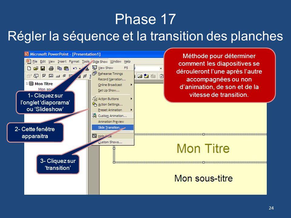 Phase 16 Animer – Régler la présentation La simplicité est recommandée pour votre premier diapo. 1- Cochez litem que vous désirez animer 3- Choisissez