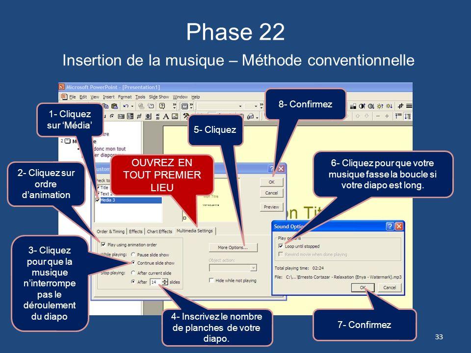 Phase 21 Insertion de la musique – Méthode conventionnelle 1- Cliquez sur longlet Animation ou Slideshow 2- Cliquez sur Animation 32