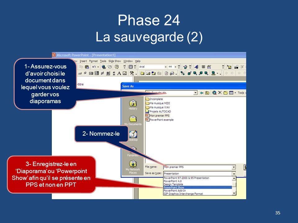 Phase 23 La sauvegarde (1) 1- Ouvrez ce dossier 2- Cliquez sur longlet Enregistrer sous 34