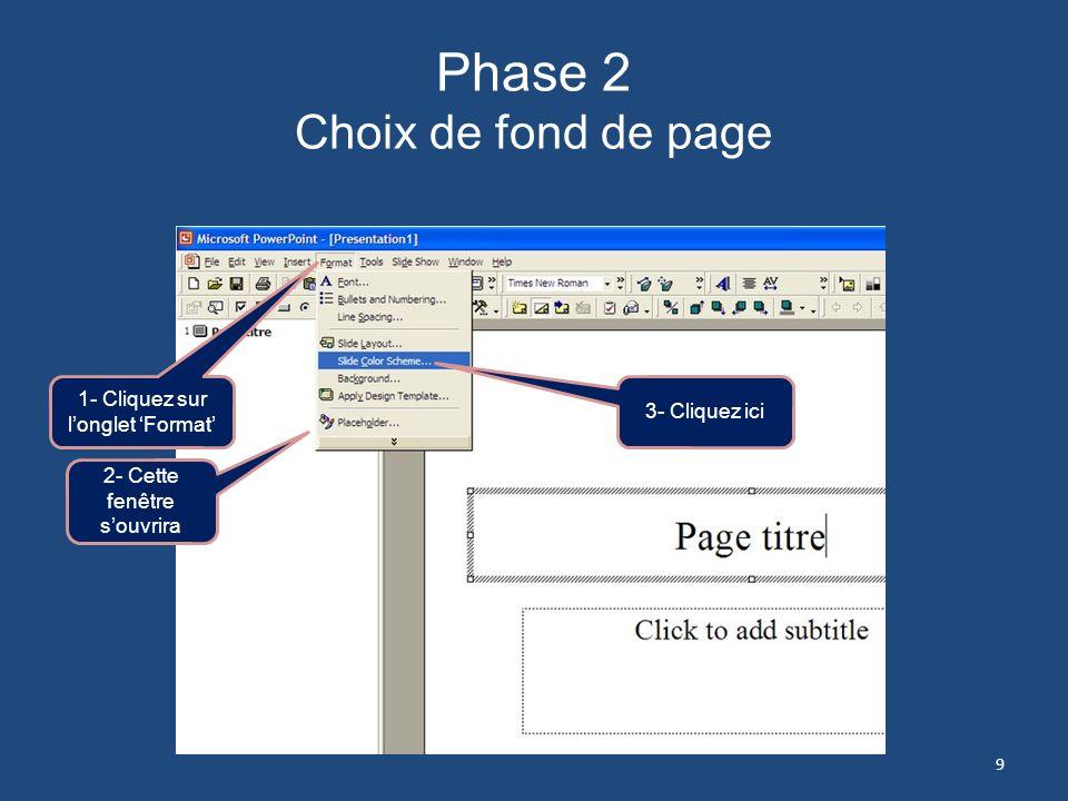 Phase 1 Choix de page douverture Dès louverture, PowerPoint vous demandera de choisir le genre de disposition de votre première page. Il est recommand