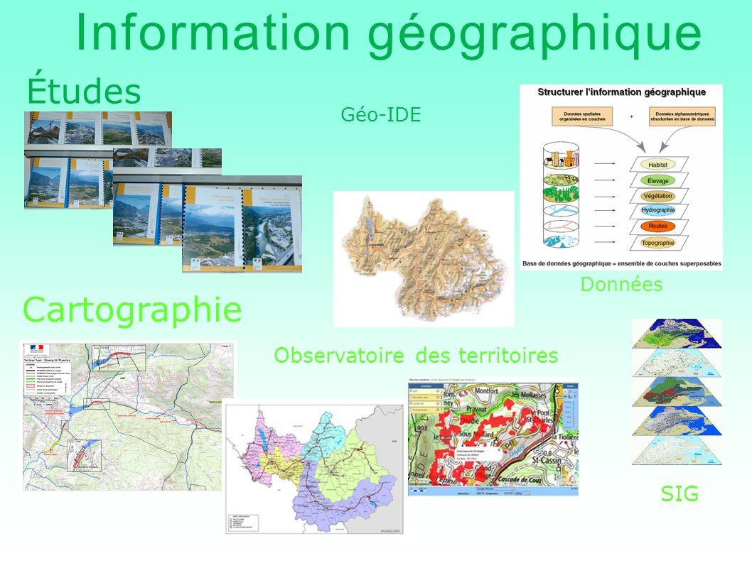 Information géographique Études Cartographie Géo-IDE Données SIG Observatoire des territoires