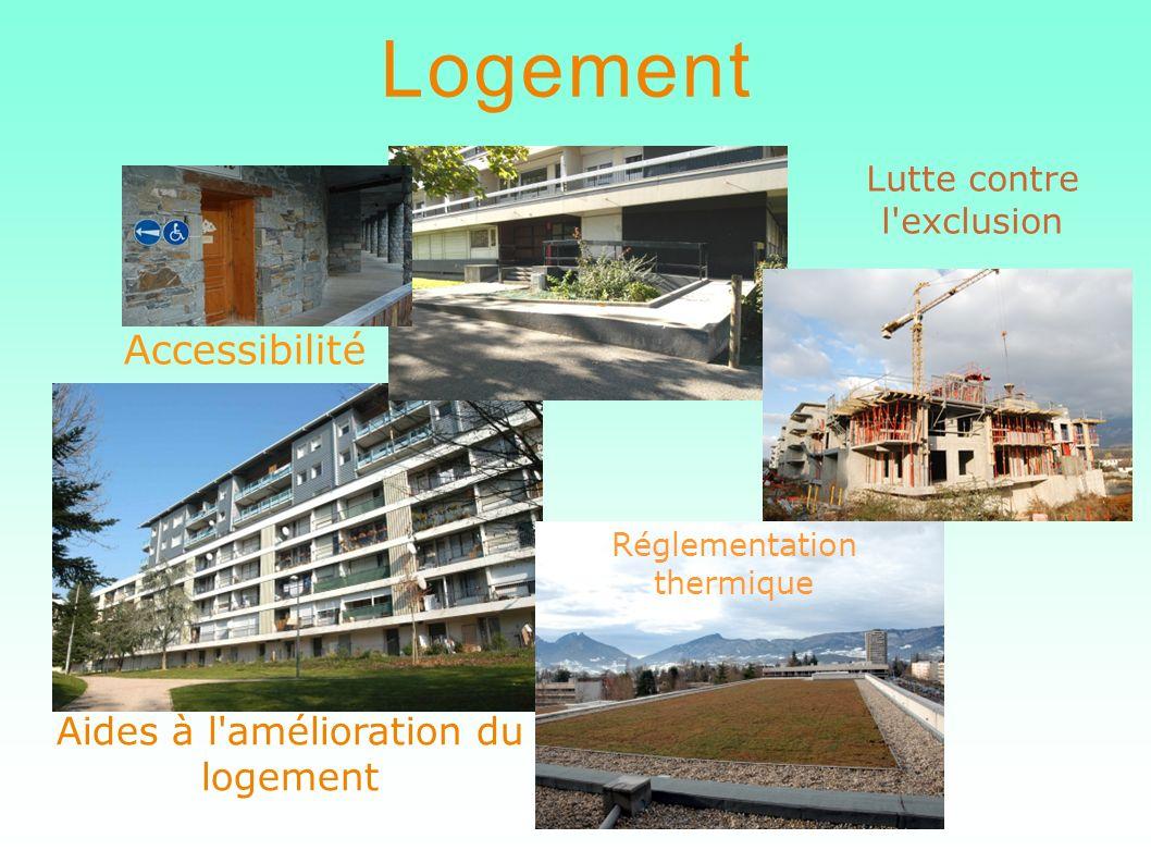 Aides à l'amélioration du logement Logement Accessibilité Lutte contre l'exclusion Réglementation thermique