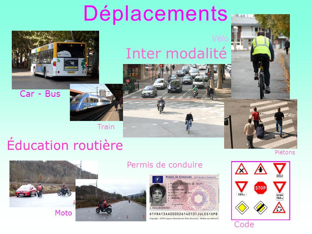 Déplacements Inter modalité Éducation routière Moto Car - Bus Train Permis de conduire Code Vélo Piétons