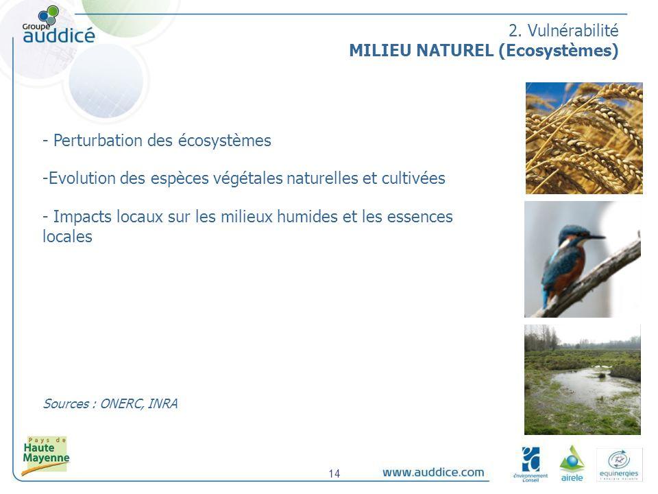 - Perturbation des écosystèmes -Evolution des espèces végétales naturelles et cultivées - Impacts locaux sur les milieux humides et les essences locales Sources : ONERC, INRA 2.