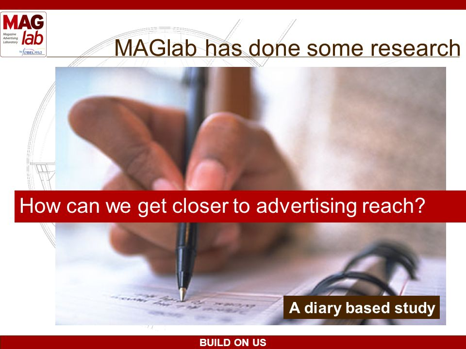 BUILD ON US MAGlab has done some research How can we get closer to advertising reach? A diary based study