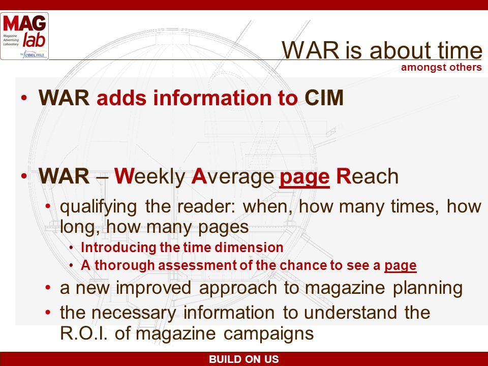 BUILD ON US WAR is about time WAR adds information to CIM WAR – Weekly Average page Reach qualifying the reader: when, how many times, how long, how m