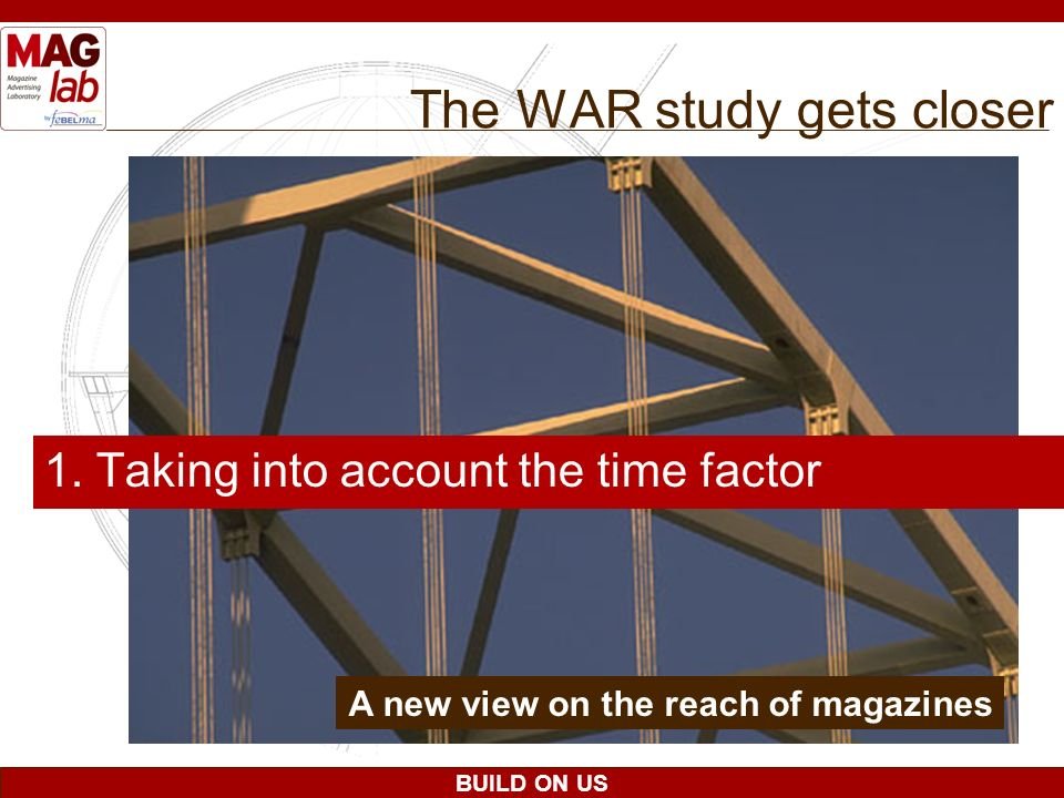 BUILD ON US The WAR study gets closer 1. Taking into account the time factor A new view on the reach of magazines