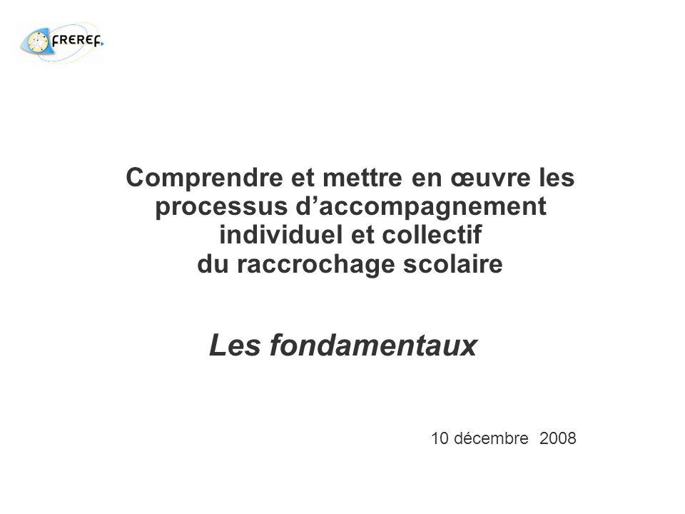 Les fondamentaux Comprendre et mettre en œuvre les processus daccompagnement individuel et collectif du raccrochage scolaire 10 décembre 2008