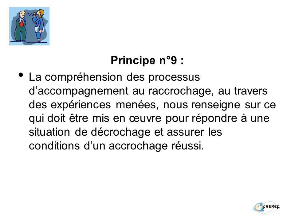 Principe n°9 : La compréhension des processus daccompagnement au raccrochage, au travers des expériences menées, nous renseigne sur ce qui doit être mis en œuvre pour répondre à une situation de décrochage et assurer les conditions dun accrochage réussi.