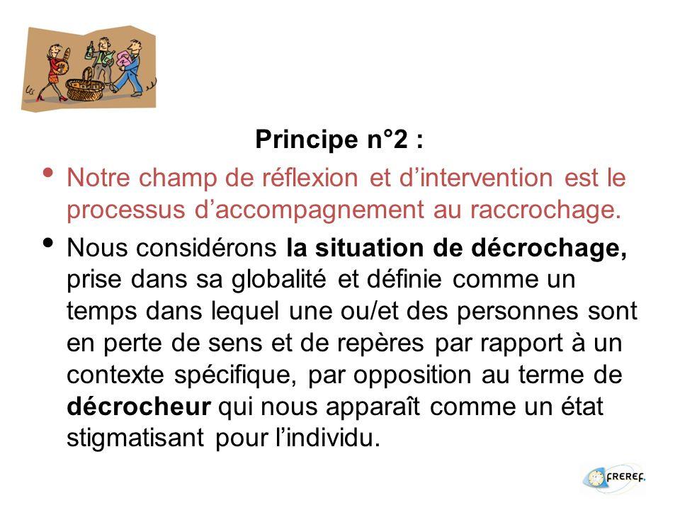 Principe n°2 : Notre champ de réflexion et dintervention est le processus daccompagnement au raccrochage.