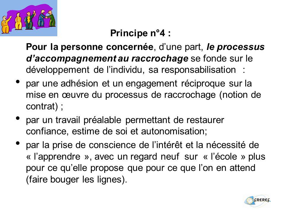 Principe n°4 : Pour la personne concernée, dune part, le processus daccompagnement au raccrochage se fonde sur le développement de lindividu, sa responsabilisation : par une adhésion et un engagement réciproque sur la mise en œuvre du processus de raccrochage (notion de contrat) ; par un travail préalable permettant de restaurer confiance, estime de soi et autonomisation; par la prise de conscience de lintérêt et la nécessité de « lapprendre », avec un regard neuf sur « lécole » plus pour ce quelle propose que pour ce que lon en attend (faire bouger les lignes).