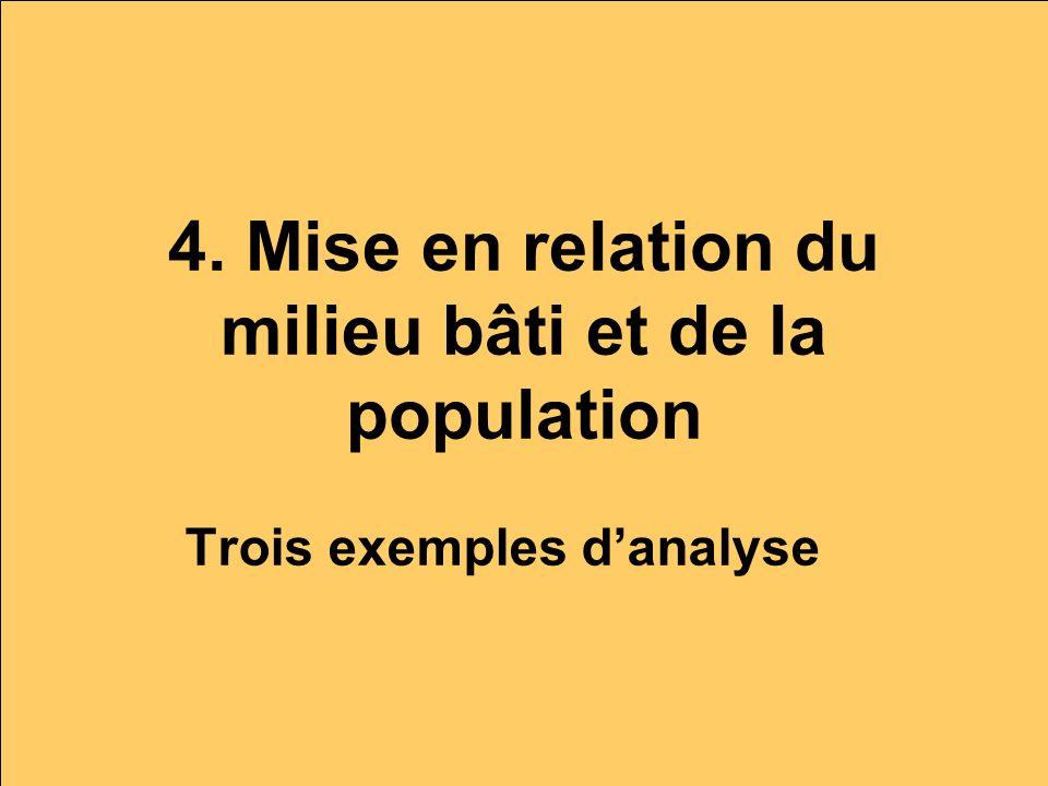 4. Mise en relation du milieu bâti et de la population Trois exemples danalyse