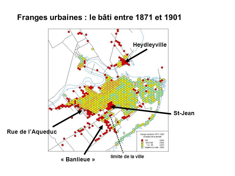Franges urbaines : le bâti entre 1871 et 1901 limite de la ville « Banlieue » Heydleyville St-Jean Rue de lAqueduc