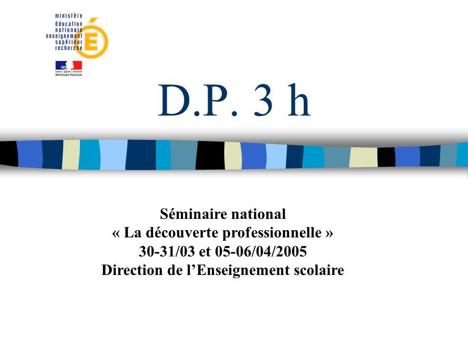 D.P. 3 h Séminaire national « La découverte professionnelle » 30-31/03 et 05-06/04/2005 Direction de lEnseignement scolaire