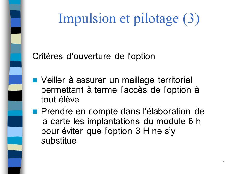4 Impulsion et pilotage (3) Critères douverture de loption Veiller à assurer un maillage territorial permettant à terme laccès de loption à tout élève Prendre en compte dans lélaboration de la carte les implantations du module 6 h pour éviter que loption 3 H ne sy substitue