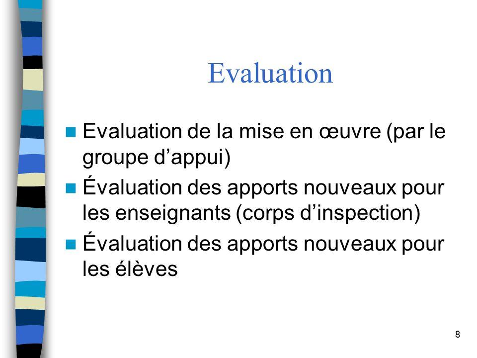 8 Evaluation de la mise en œuvre (par le groupe dappui) Évaluation des apports nouveaux pour les enseignants (corps dinspection) Évaluation des apports nouveaux pour les élèves Evaluation