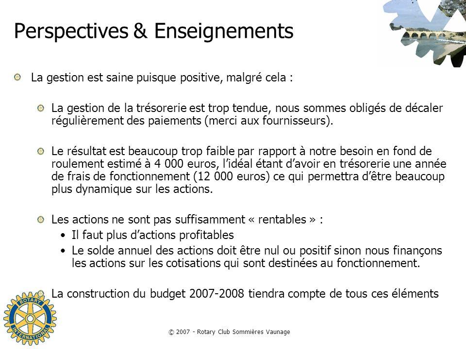 © 2007 - Rotary Club Sommières Vaunage Perspectives & Enseignements La gestion est saine puisque positive, malgré cela : La gestion de la trésorerie e