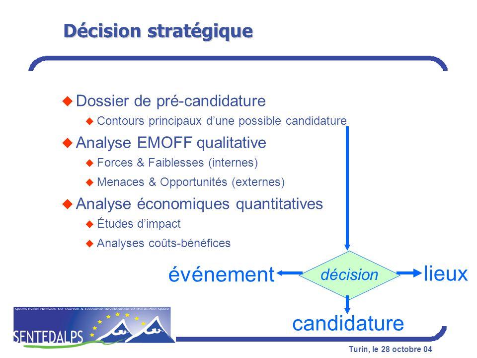 Turin, le 28 octobre 04 Décision stratégique u Dossier de pré-candidature u Contours principaux dune possible candidature u Analyse EMOFF qualitative