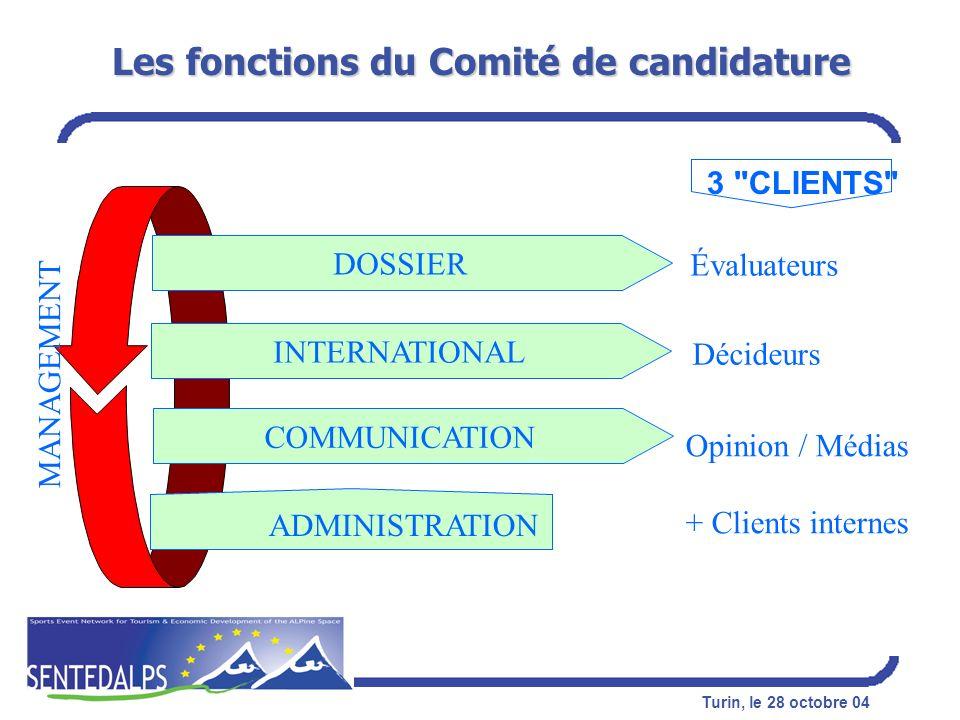 Turin, le 28 octobre 04 Les fonctions du Comité de candidature DOSSIER INTERNATIONAL COMMUNICATION ADMINISTRATION MANAGEMENT Évaluateurs Décideurs Opi