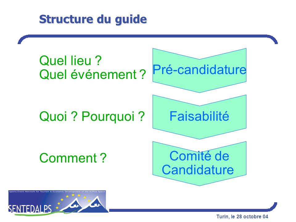 Turin, le 28 octobre 04 Structure du guide Pré-candidature Faisabilité Comité de Candidature Quel lieu ? Quel événement ? Quoi ? Pourquoi ? Comment ?