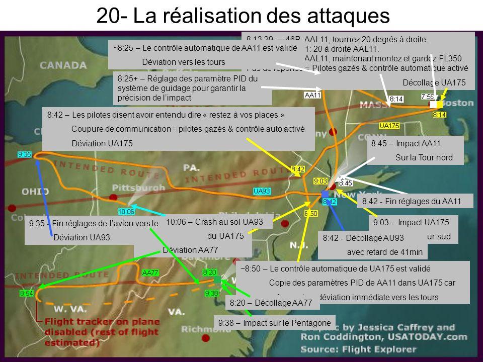 20- La réalisation des attaques 7:59 - Décollage AA11 8:13:29 46R: AAL11, tournez 20 degrés à droite.