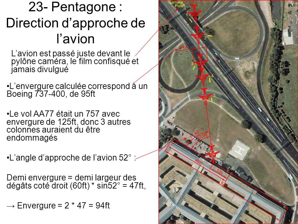23- Pentagone : Direction dapproche de lavion Lenvergure calculée correspond à un Boeing 737-400, de 95ft Le vol AA77 était un 757 avec envergure de 125ft, donc 3 autres colonnes auraient du être endommagés Langle dapproche de lavion 52° : Demi envergure = demi largeur des dégâts coté droit (60ft) * sin52° = 47ft, Envergure = 2 * 47 = 94ft Lavion est passé juste devant le pylône caméra, le film confisqué et jamais divulgué