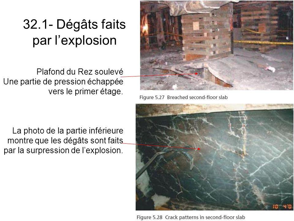 32.1- Dégâts faits par lexplosion Plafond du Rez soulevé Une partie de pression échappée vers le primer étage.