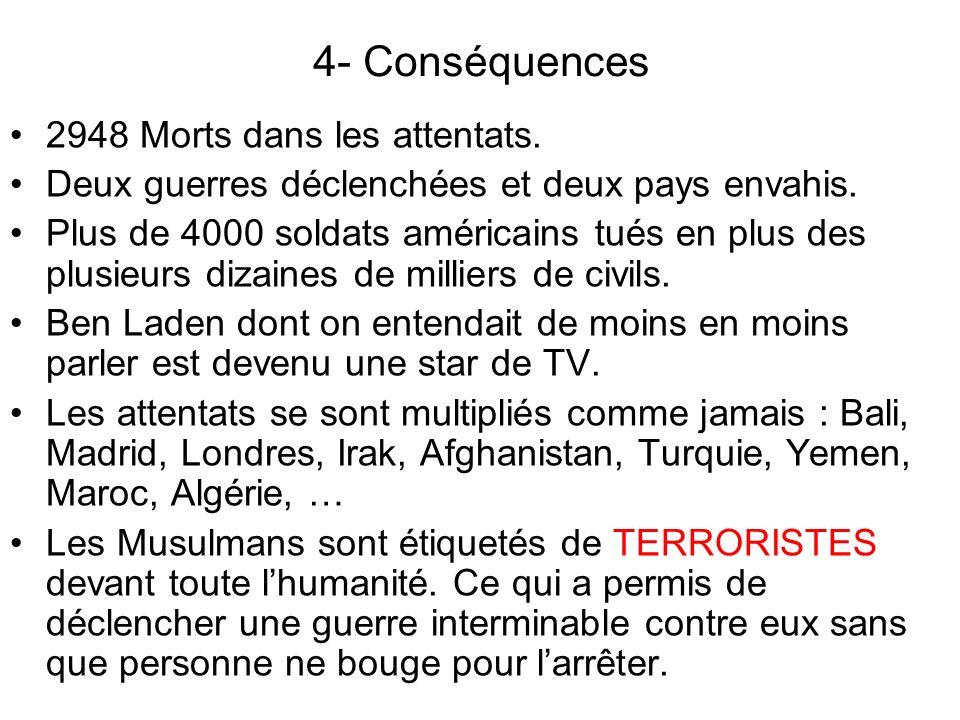 4- Conséquences 2948 Morts dans les attentats.Deux guerres déclenchées et deux pays envahis.