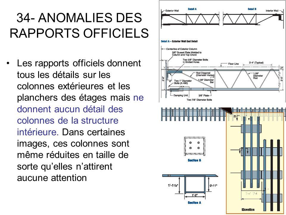 34- ANOMALIES DES RAPPORTS OFFICIELS Les rapports officiels donnent tous les détails sur les colonnes extérieures et les planchers des étages mais ne donnent aucun détail des colonnes de la structure intérieure.