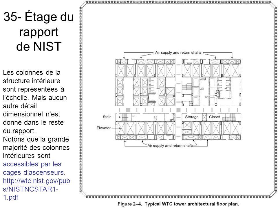 35- Étage du rapport de NIST Les colonnes de la structure intérieure sont représentées à léchelle.